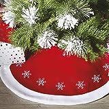 Bakaji Christmas Tappeto Gonna Copertura per Base Albero di Natale 105 cm Colore Rosso Decorazione Fiocco di Neve Decorazioni Natalizie
