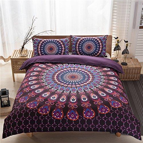 Bluelover 3Pcs Bett Set Home Mandala Bettwäsche Set Queen Sheets Weichen Twill Böhmischen Druck Bettbezug Mit Kissenbezüge - 200Cm X 200Cm - 4 - 4 Poster Queen-bett