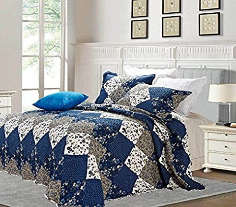 3 Piece Quilted Patchwork Cotton Bedspread With Pillow Cases-Bed Throw-Comforter Set (Double, Blue (47-10))
