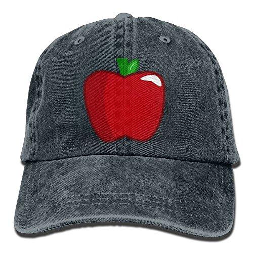 Apple Cotton Cap (Dress rei Red Apple Denim Baseball Caps Hat Adjustable Cotton Sport Strap Cap for Men Women)