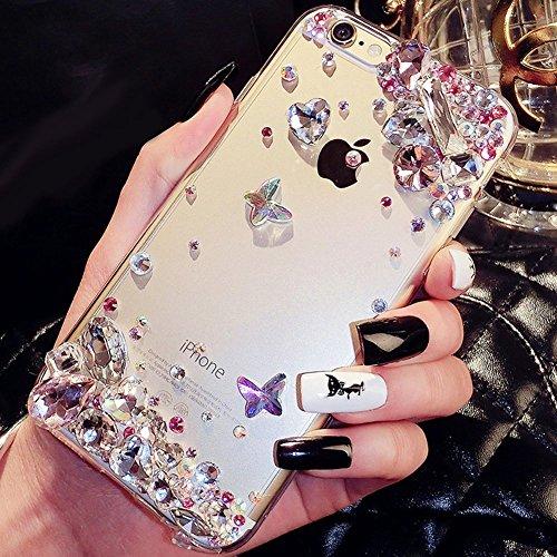 Custodia Cover iPhone 6/6S Plus Silicone Morbida,Ukayfe Trasparente Cristallo di Lusso di Bling Glitter Diamanti Strass Fiore Disegno per iPhone 6/6S Plus Clear Flexible TPU Gel Ultra Sottile Copertur Strass Rosa