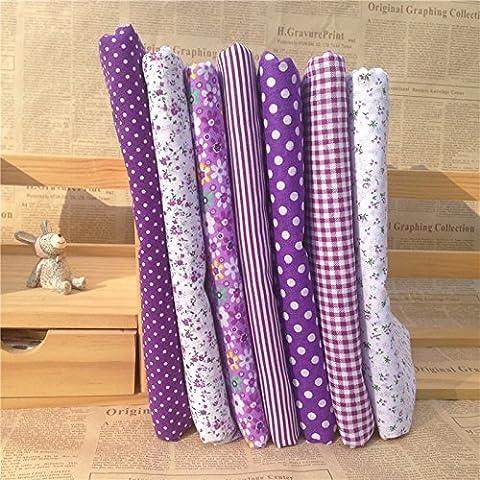 wrone (TM) 7PCS/LOT 50cmX50cm Viola 100% tessuto di cotone per cucito, Bambola Tilda panno DIY Quilting Patchwork Tessuto Tessile B5