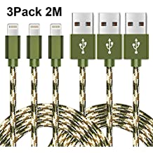 Cable Lightning WZS® 3-Pack 2M Cable iPhone de Carga Lightning a USB Cable Cargador iPhone de Nylon para Apple iPhone 8 / 8 plus / 7 / 7 Plus / 6S / 6S Plus / 6 / 6 Plus / 5 / 5S / 5C / SE, iPad Pro/ Air / mini, iPod ( Verde )