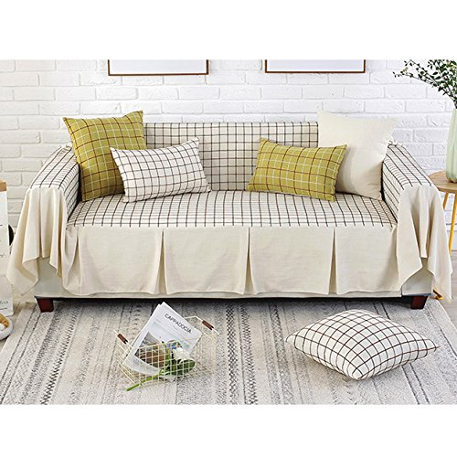 Lovehouse cotone lino copertura divano,reticolo semplice fodera per divano copridivano copertine 1-pezzo all-inclusive antiscivolo antimacchia sofa protettore per salotto 1 2 3 4 cuscino divano -beige cuscino 45x45cm(18x18inch)