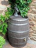 Barril de agua medida butt, edición premium con grifo de latón, 52 galones/238 litros estilo jacobino, roble oscuro, barril medida Hogshead para cerveza con réplica de bomba con efecto hierro fundido, para jardín
