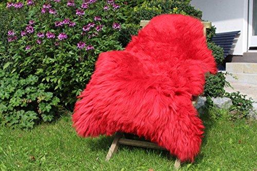 Echtes Lammfell Schaffell Rot – 110-120cm – Premium Qualität – von Alpenfell