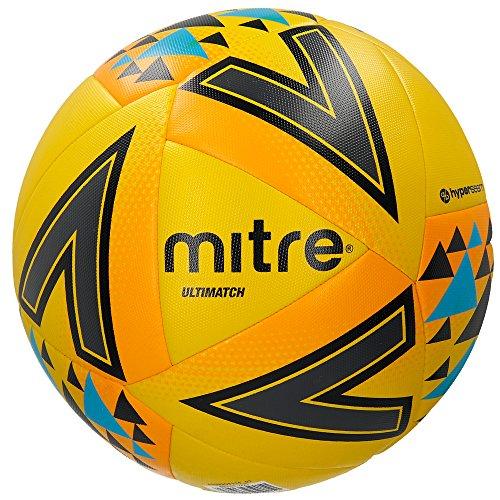 Mitre Ultimatch Fluo Yellow Football Base-Level Match Ball