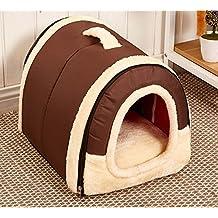 Cosy Weiche Hundebett Hundehaus Hundehöhle Haustier Bett Warm Schlafsack Korb hundehütte mit Ablösbar Kissen Matte für Hunde, Katzen (M, Reine Brown)
