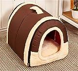 Chrasy Cosy Weiche Hundebett Hundehaus Hundehöhle Haustier Bett Warm Schlafsack Korb hundehütte mit Ablösbar Kissen Matte für Hunde, Katzen (M, Reine Brown)
