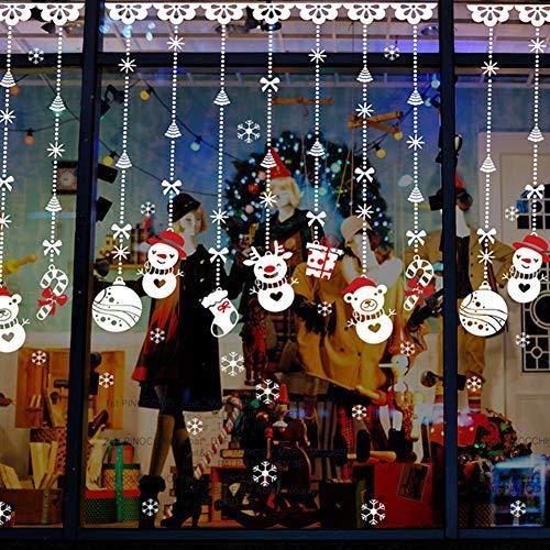 Extsud 2 pezzi vetrofanie adesive natalizie per finestre fiocco pupazzo neve adesivi natale vetrine negozi porta vetro wall sticker rimovibile decorazione casa addobbi natalizi fai da te