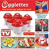 Egglettes - Egg Cooker Hard & Soft Maker, No Shell, Non Stick Silicone, Poacher, Boiled, Steamer, AS SEEN ON TV. (6)