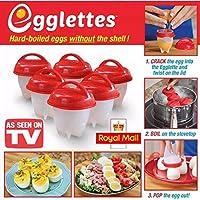 Egglettes – Egg Cooker Hard & Soft Maker, sans coque, anti-adhésif en silicone, Pocheuse, Bouillie, cuiseur vapeur, Eggies Vu à la Télé