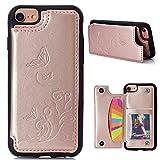 CESTOR Luxus Brieftasche Hülle für Apple iPhone 6/6S/7/8 4.7 Zoll, Retro Premium Flip PU Leder Floral Schmetterling Muster Design Flexible Silikon TPU Rücken Case Cover [mit Kartenhalter Ständer] + Ring Halterung für iPhone 6/6S/7/8 4.7