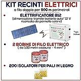 Kit für Weidezaun 500 Meter - Solaranlage für Weidezaungerät + Weidezaun Litze + Isolatoren für Holzpfähle / eisenpfähle GEMI