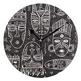 SUNOP Orologio per Bambini Orologio Olio Stampato 1Africano Etnico Tribale Maschere, Orologi da Parete per Soggiorno, Camera da Letto e da Cucina Vintage e ripiano, Orologi