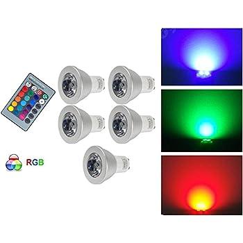 Anitech® 5 unidades GU10 RGB LED Bombilla Foco Multicolor Bombilla con mando a distancia (Incluye – Cambio de color
