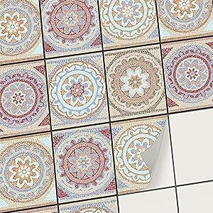 creatisto Klebefliesen Stickerfliesen Fliesenfolie - Aufkleber Sticker für Wandfliesen I Klebefliesen Deko Folien für Fliesen in Küche u. Bad/Badezimmer (20x25 cm I 6 -Teilig)