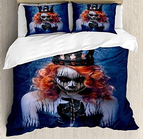 ttwäsche Set Bettbezug Set, Königin des Todes beängstigend Body Art Halloween böse Gesicht Bizarre Make Up Zombie, 3 Stück Tröster / Qulit Cover Set mit 2 Kissenbezügen, Marineblau O ()