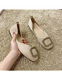 Zapatos planos para mujer individuales, diseño de cabeza cuadrada y suave, color blanco cremoso.