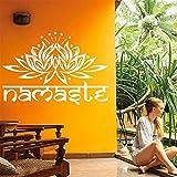 """YanQiao Indien Namaste Wort Wandtattoo fogannisa Lotus Aufkleber für Wohnzimmer Dekoration wiederablösbar Vinyl Aufkleber Art Home Dekorieren Größe 57,4x 84,3cm braun, Vinyl, weiß, 22.6 * 33.2"""""""