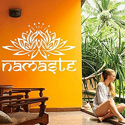 Yanqiao India Namaste Word Wall Sticker Fogannisa Lotus sticker for Living Room Decoration Removable Vinyl Decal Art Home Decorate Size 16.5*11.3