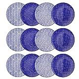 vancasso, Takaki Porzellan Speiseteller, 12 teilig Set Rund Flachteller Set, Durchmesser 27 cm, Blau