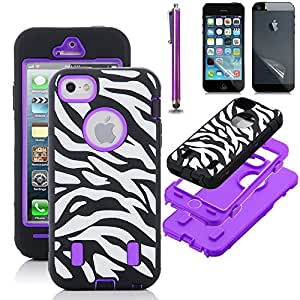 iPhone 5 Case, iPhone 5S Case, Zeox® Armo Sereis Zebra Hard Case Shockresistant Cover With Screen Protector and Stylus- Zebra (Purple)