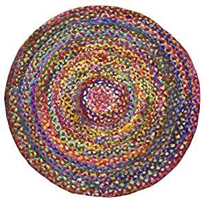 Fair Trade Braided Round Chindi Recycled Cotton Rag Rugs (90 x 90) by Indian Arts