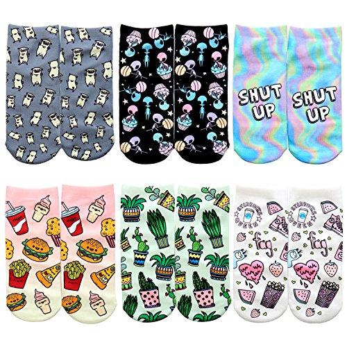 Sasasiry 6er Pack Niedlich Cartoon Drucken Socken Kurz aus Baumwolle Freizt Socken mit Muster für Damen Mädchen (Casual Socken Muster)