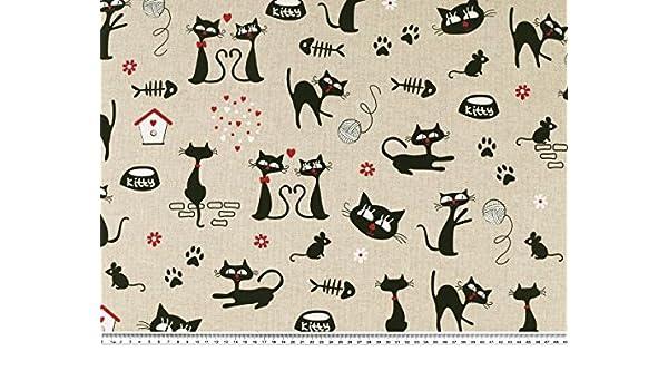Tissu de décoration beige-noir prix au mètre 140cm chats aspect lin
