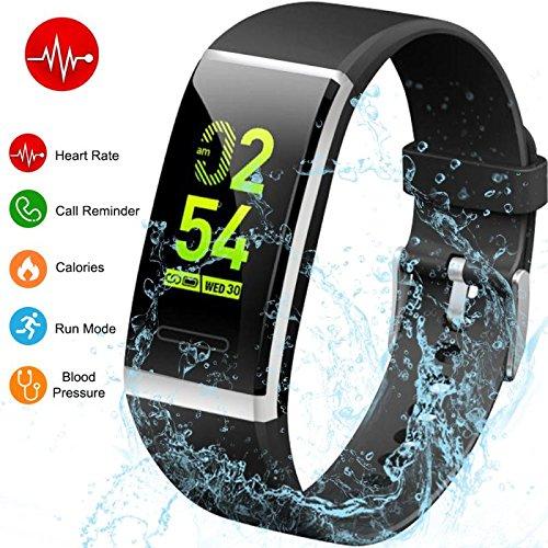 Yoolaite Fitness Armband Uhr mit Pulsmesser Farbdisplay Fitness Tracker Wasserdichter Aktivitätstracker mit Blutdruck-Test Smart ArmbandUhr Schrittzähler mit Schlafmonitor Kalorienzähler Vibrationsalarm Anruf SMS Whatsapp Beachten kompatibel mit iPhone Android Handy (Schwarz)