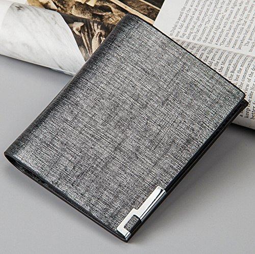 Kurz Geldbörse Herren Leder Portemonnaie Brieftasche Freizeit Kleinlederwaren Silber