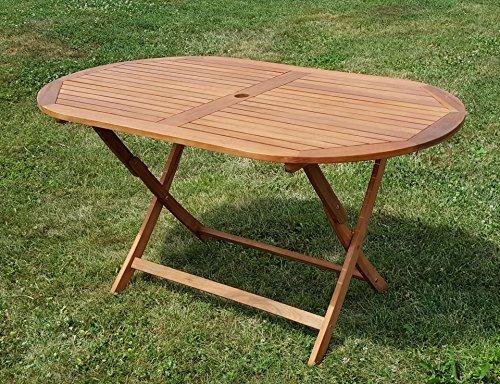 AS-S klappbarer Gartentisch Holztisch Tisch oval 150x85cm BARBADOS aus Eukalyptus wie Teak von AS-S