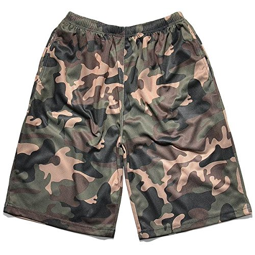 Urban Classics Camo Bball Mesh Shorts, Farbe woodcamo, Größe 2XL - Levi ' Classic Shorts