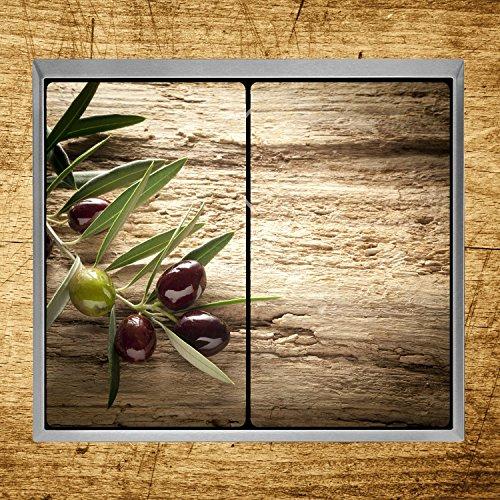 Herdabdeckplatten aus Glas m. Noppen von DekoGlas 2er-Set Herdabdeckung Schneidebrett Spritzschutz Oliven - 2
