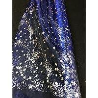 Générique Tissus Bleu Organza Etoiles Argent Tissu Deco Noel Mariage au mètre Nappe Chemin de Table décoration Ciel…