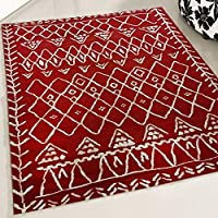 mynes Home Rug Short Pile Designer Rustic Living Room Rug Luxury Cream Red Ethnic Bohemian Boho Style, 200 x 290 cm