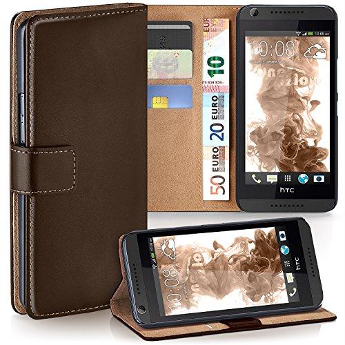 moex HTC Desire 626G | Hülle Dunkel-Braun mit Karten-Fach 360° Book Klapp-Hülle Handytasche Kunst-Leder Handyhülle für HTC Desire 626G/626 Case Flip Cover Schutzhülle Tasche