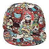 Graffiti Baseballcap Hip Hop Snapback Cartoon Comic Kappe Mütze Cap Schirmmütze Basecap verstellbar (Einheitsgröße, Braun)
