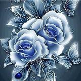 sunshineBoby Jahrgang Rose DIY-Malset,komplett gebohrt,Malerei Blume DIY Stickerei Painting Kreuz Stich Diamond Dekoration,5D Stickerei Gemälde Strass eingefügt DIY Diamant Malerei Kreuzstich (Mehrfarbig C, 25X25cm)