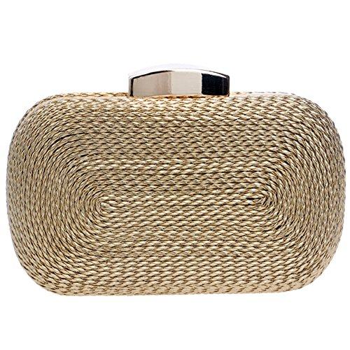 Santimon Clutch Damen Abendtasche Handtasche Abend Handtaschen Unterarmtasche Hochzeit Party Tasche Luxus Gold (Gold Abend Tasche)