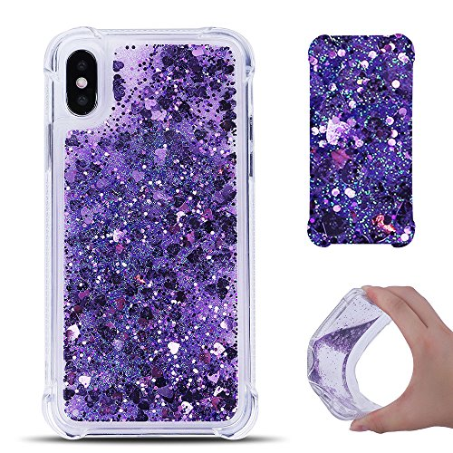 Cover iPhone X Custodia iPhone X Silicone Liquido Anfire Trasparente Flessibile Plastica TPU Case per Apple iPhone X (5.8 Pollici) Sabbie Mobili Shell 3D Bling Glitter Floating Quicksand Copertura Cuo Viola