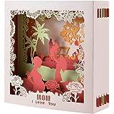 Biglietti di Auguri,Cartolina D'auguri 3D Festa Della Mamma Fatta a Mano Carta Regalo Anniversario Carta Compleanno con Busta