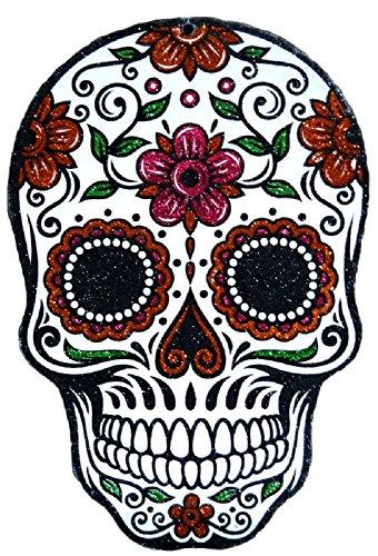 Tag der Toten Totenkopf Halloween Glitzer Wandschild Dekoration