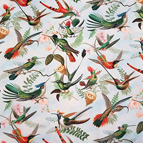 Werthers Stoffe Stoff Meterware Dekosamt Velours Velvet Kolibris weiß bunt Vögel Digital stabil - Kolibri-stoff