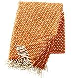 KLIPPAN: Creme-rostorange Wolldecke 'Knut' 130x200cm aus 100% Lambswool, ca 900 g