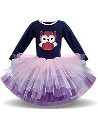 Niñas Tutu de Manga Larga Princesa Ballet Vestido Falda de Malla Vestido 2-8 años