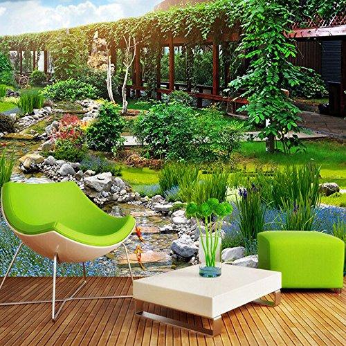 Wongxl 3D Pavillons Brook Tapete Landschaft Park View Benutzerdefinierte Wandbilder Tv Sofa Im Wohnzimmer Der Hotelwände 3D Tapete Hintergrundbild Fresko Wandmalerei Wallpaper Mural 200cmX150cm