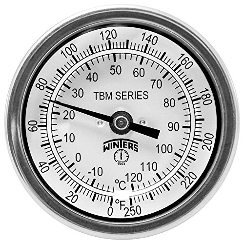 Winters TBM Series Stainless Steel 304 Dual Scale Bi-Metal Thermometer, 2-1/2 Stem, 1/2 NPT Fixed Center Back Mount Connection, 3 Dial, 0-250 F/C Range by Winters - Npt Back Mount