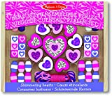 Melissa & Doug Shimmering Hearts Wooden Bead Set: 45 Beads and 3 Laces for Jewellery-Making
